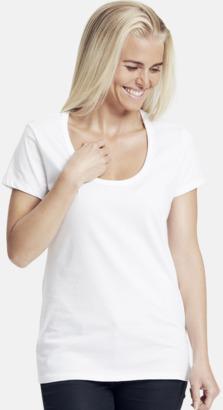 Vit Eko bas t-shirts Fairtrade dam med djup u-ringning med reklamtryck