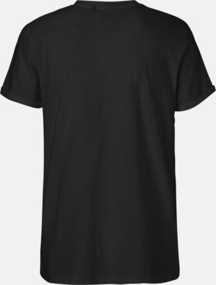 Eko & Fairtrade-certifierade t-shirts med roll up sleeves - med reklamtryck