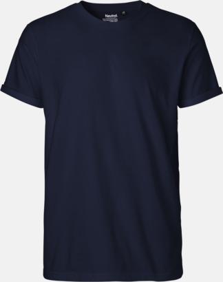 Marinblå (herr)  (PMS 533C) Eko & Fairtrade-certifierade t-shirts med roll up sleeves - med reklamtryck