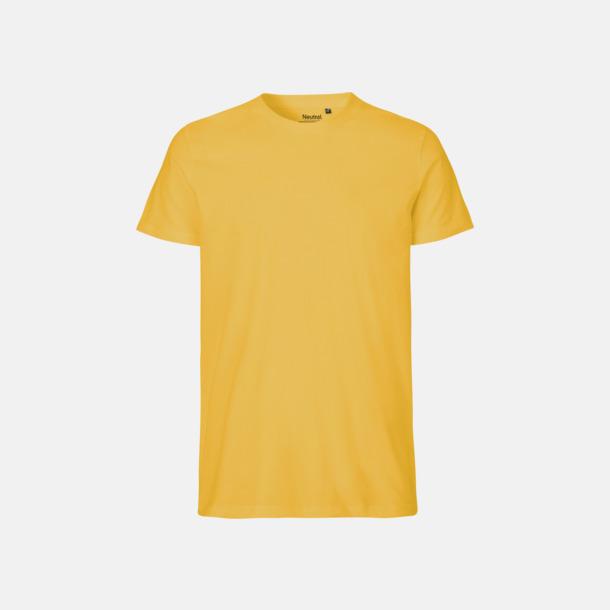 Gul (herr) Fitted t-shirts i ekologisk fairtrade-bomull med tryck