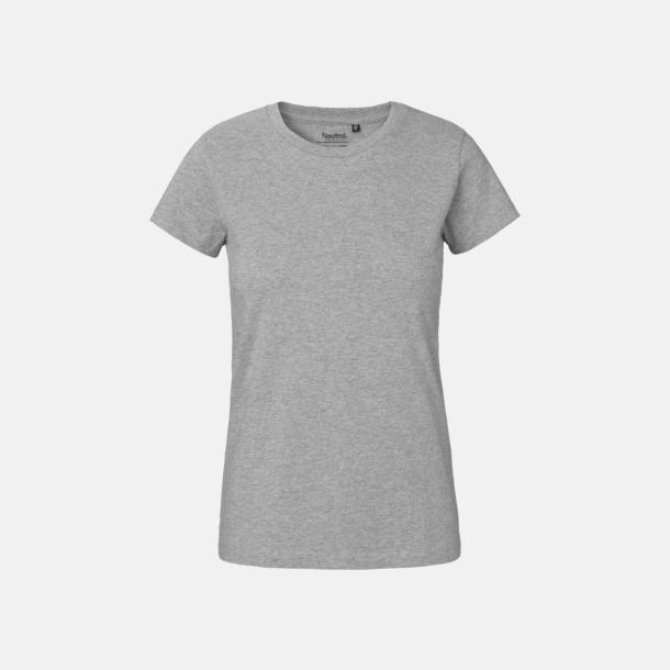 Sports Grey (dam) Klassiska t-shirts i ekologisk fairtrade-bomull med tryck