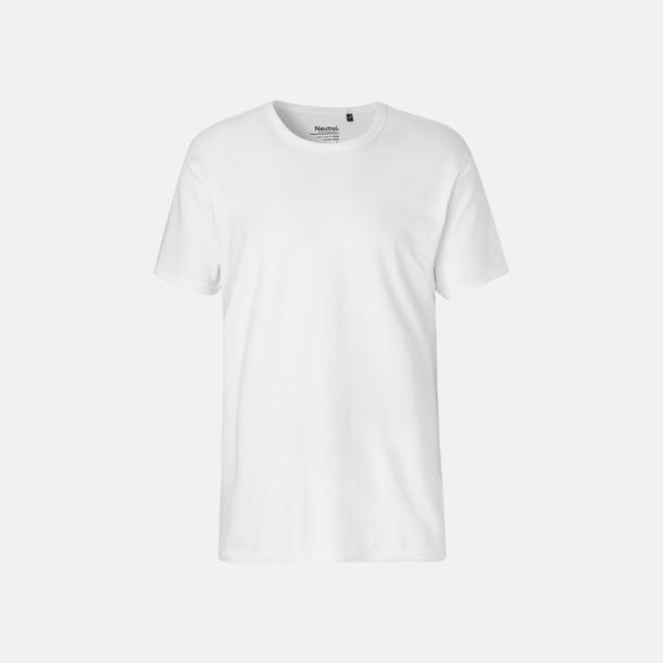 Vit (herr) Eko t-shirts i interlocktyg med reklamtryck