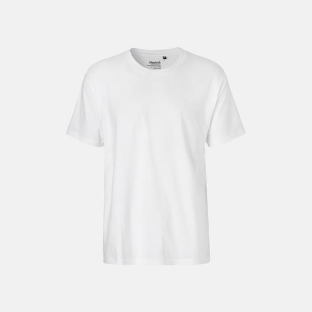 Vit (herr) Klassiska t-shirts i ekologisk fairtrade-bomull med tryck