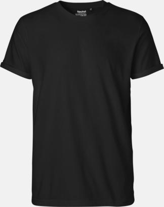 Svart (herr) Eko & Fairtrade-certifierade t-shirts med roll up sleeves - med reklamtryck