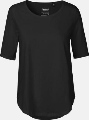 Svart Eko dam t-shirts Fairtrade med längre ärmar - med reklamtryck