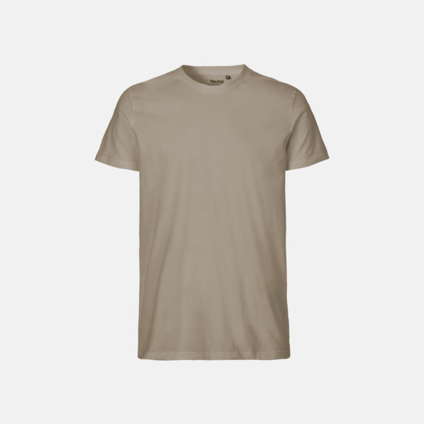 Sand (herr) Fitted t-shirts i ekologisk fairtrade-bomull med tryck