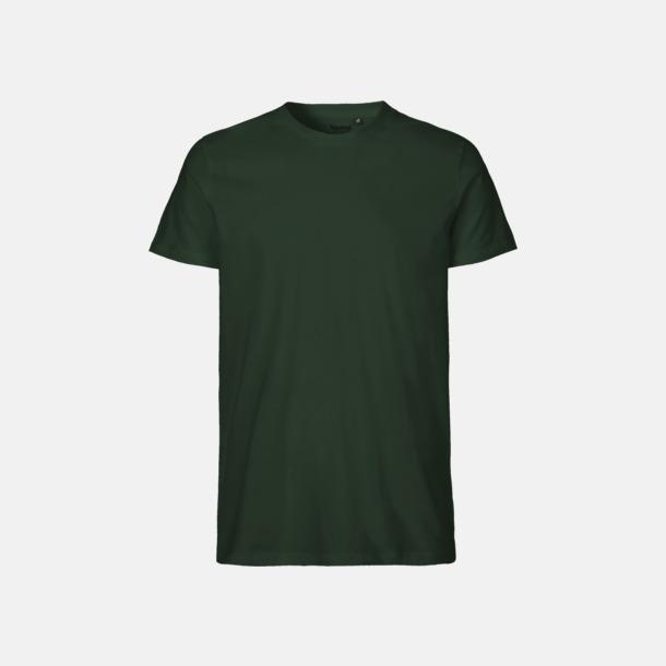 Bottle Green (herr) Fitted t-shirts i ekologisk fairtrade-bomull med tryck
