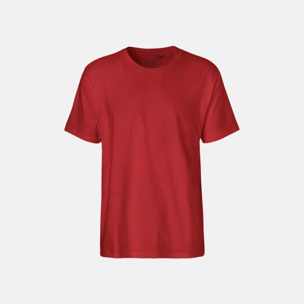 Röd (herr) Klassiska t-shirts i ekologisk fairtrade-bomull med tryck