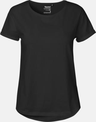 Svart (dam) Eko & Fairtrade-certifierade t-shirts med roll up sleeves - med reklamtryck