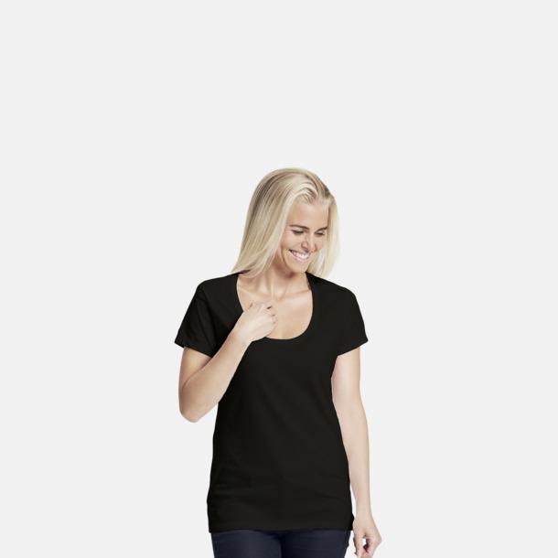 Svart Eko bas t-shirts Fairtrade dam med djup u-ringning med reklamtryck