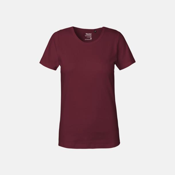 Bordeaux (dam) Eko t-shirts i interlocktyg med reklamtryck