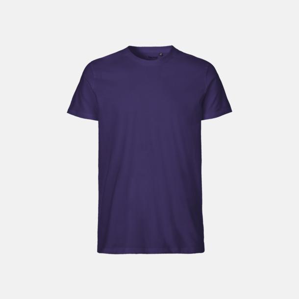 Lila (herr) Fitted t-shirts i ekologisk fairtrade-bomull med tryck