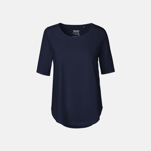 Marinblå (PMS 533C) Eko dam t-shirts Fairtrade med längre ärmar - med reklamtryck