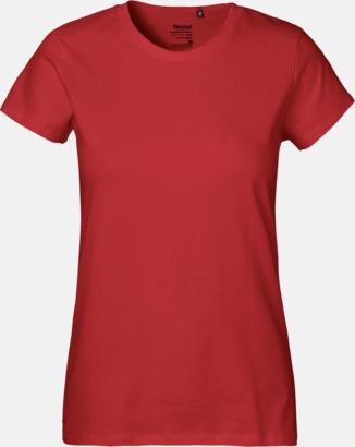 Dam Röd (PMS 199U) Klassiska t-shirts i ekologisk fairtrade-bomull med tryck