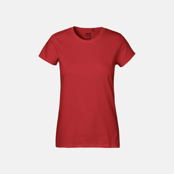 Röd (dam) Klassiska t-shirts i ekologisk fairtrade-bomull med tryck