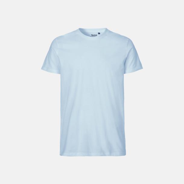 Ljusblå (herr) Fitted t-shirts i ekologisk fairtrade-bomull med tryck