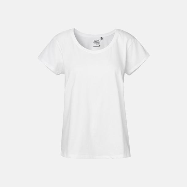 Vit T-shirts med ledig passform - med reklamtryck