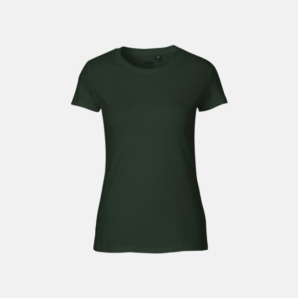 Bottle Green (dam) Fitted t-shirts i ekologisk fairtrade-bomull med tryck