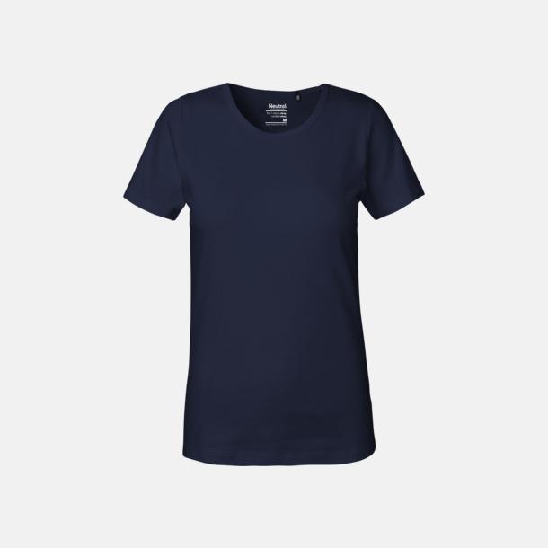 Marinblå (dam) Eko t-shirts i interlocktyg med reklamtryck
