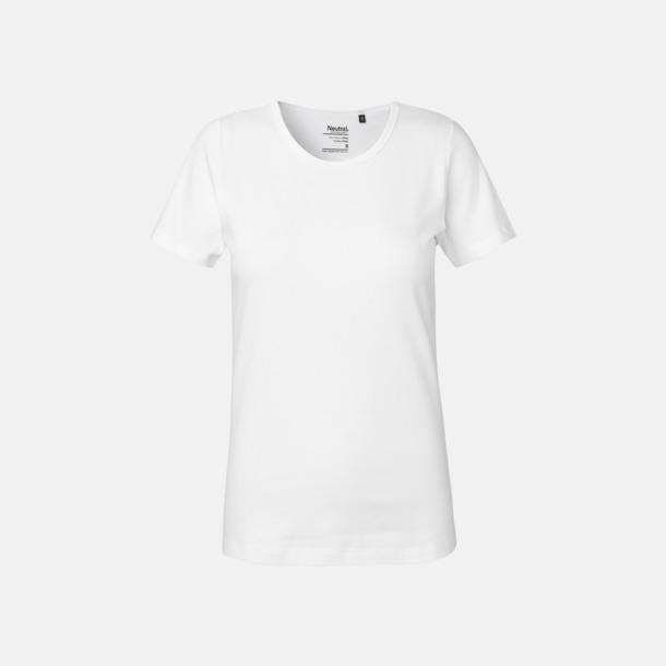 Vit (dam) Eko t-shirts i interlocktyg med reklamtryck