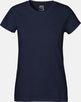 Dam Marinblå (PMS 533C) Klassiska t-shirts i ekologisk fairtrade-bomull med tryck