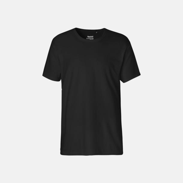 Svart (herr) Eko t-shirts i interlocktyg med reklamtryck