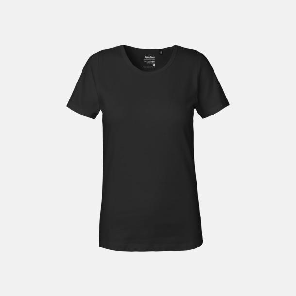 Svart (dam) Eko t-shirts i interlocktyg med reklamtryck