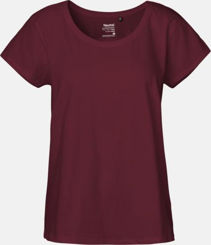 Bordeaux (PMS 222U) T-shirts med ledig passform - med reklamtryck