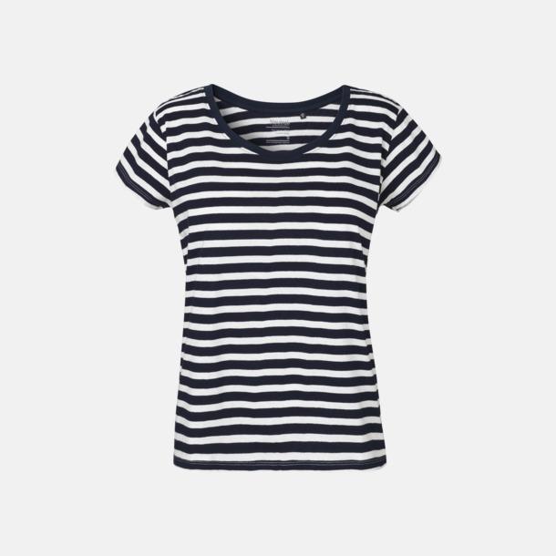 Vit/Marinblå (randig) T-shirts med ledig passform - med reklamtryck