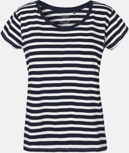 Randig Vit/Navy T-shirts med ledig passform - med reklamtryck