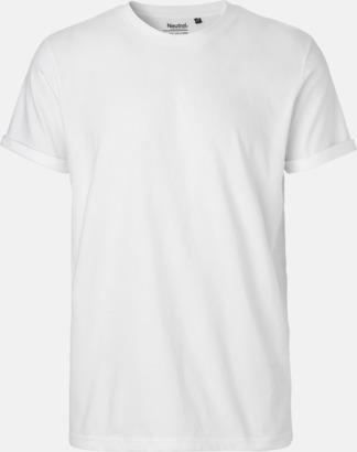Vit (herr) Eko & Fairtrade-certifierade t-shirts med roll up sleeves - med reklamtryck