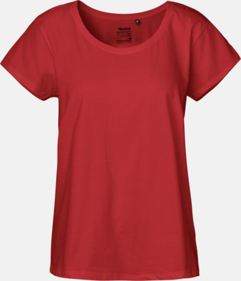 Röd (PMS 199U) t-shirts med ledig passform - med reklamtryck