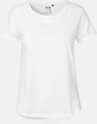 Vit (dam) Eko & Fairtrade-certifierade t-shirts med roll up sleeves - med reklamtryck