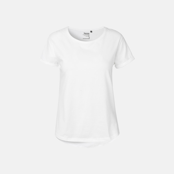 Vit (dam) Eko & Fairtrade-certifierade t-shirts med roll up sleeves - med reklamtryck