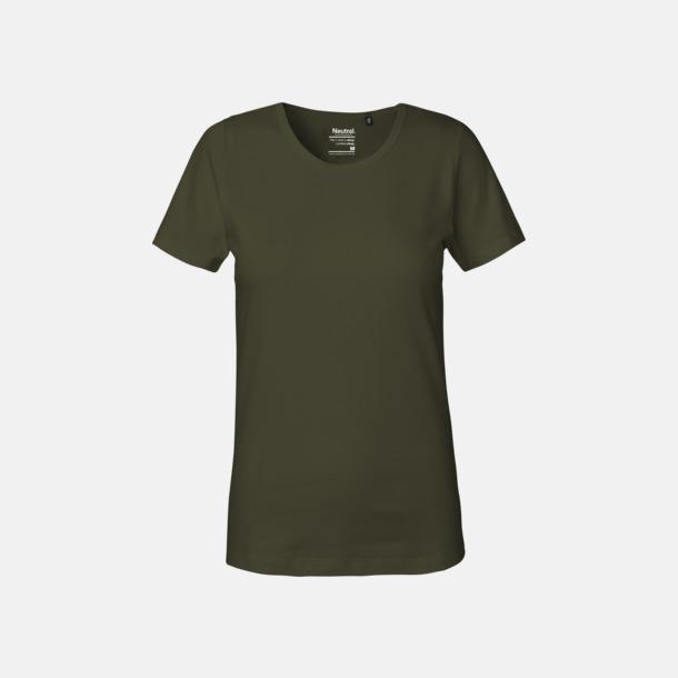 Military (dam) Eko t-shirts i interlocktyg med reklamtryck