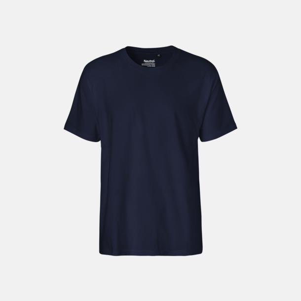 Marinblå (herr) Klassiska t-shirts i ekologisk fairtrade-bomull med tryck