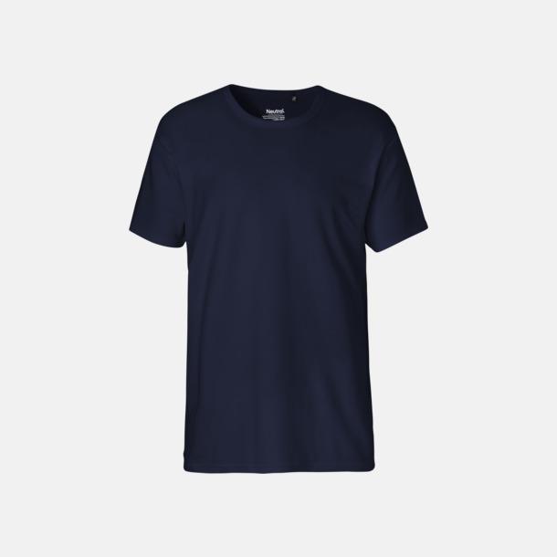 Marinblå (herr) Eko t-shirts i interlocktyg med reklamtryck