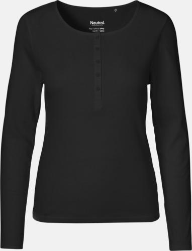 Svart (endast dam) Långärmade dam- & barn t-shirts eko & Fairtrade med reklamtryck