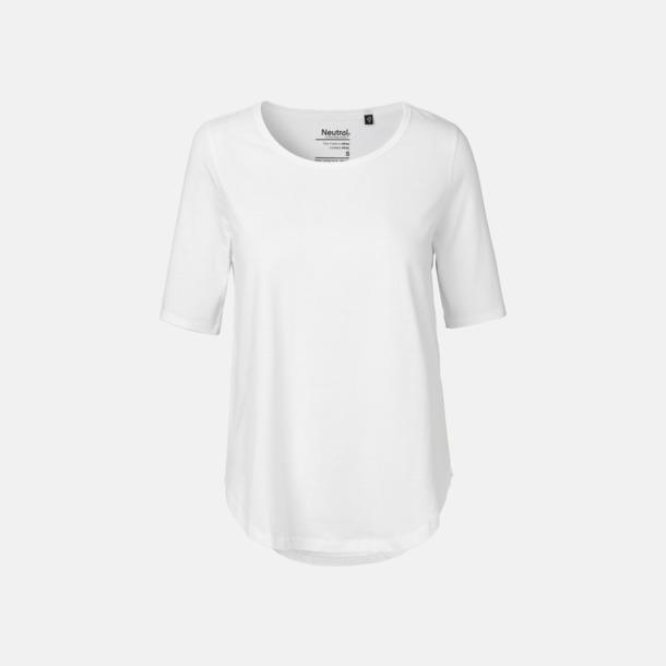 Vit Eko dam t-shirts Fairtrade med längre ärmar - med reklamtryck