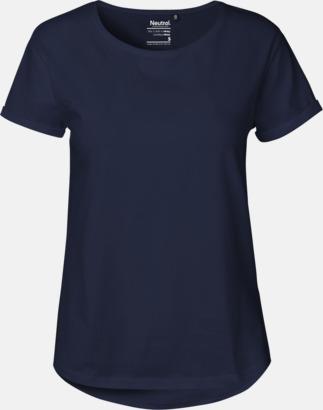 Marinblå (dam)  (PMS 533C) Eko & Fairtrade-certifierade t-shirts med roll up sleeves - med reklamtryck