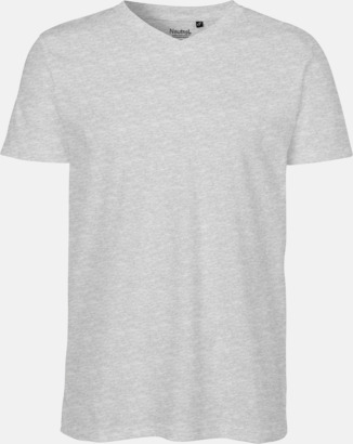 Sports Grey (herr) V-ringade ekologiska t-shirts Fairtrade med reklamtryck