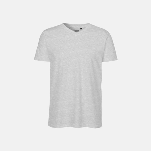Sports Grey (herr) V-ringade ekologiska t-shirts Fairtrade med reklamtryck