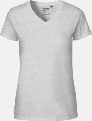 Sports Grey (dam) V-ringade ekologiska t-shirts Fairtrade med reklamtryck