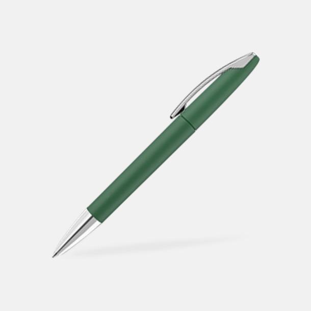 Mörkgrön Soft touch-pennor med reklamtryck