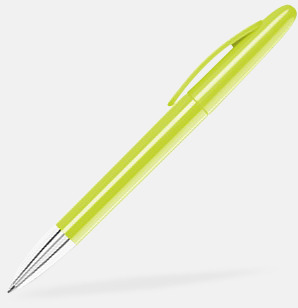 Limegrön Pennor med blanka, solida pennkroppar med reklamlogo