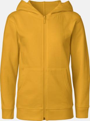 Gul (med blixtlås) Ekologiska barntröjor med eller utan blixtlås - med reklamtryck