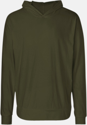 Militärgrön Ekologiska huvtröjor i unisex med tryck