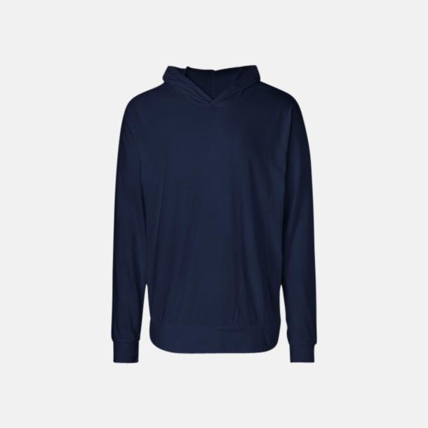 Marinblå Ekologiska huvtröjor i unisex med tryck