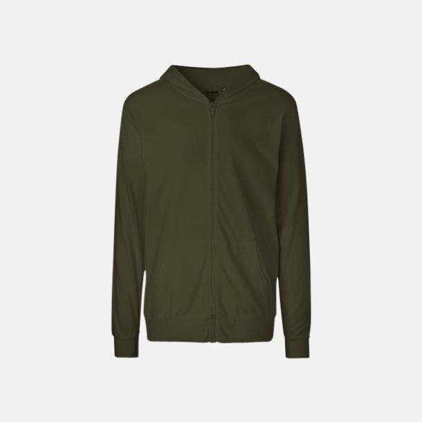 Militrägrön Ekologiska huvtröjor med blixtlås i unisexmodell med reklamtryck
