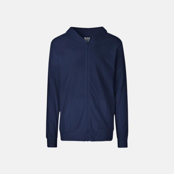 Marinblå Ekologiska huvtröjor med blixtlås i unisexmodell med reklamtryck